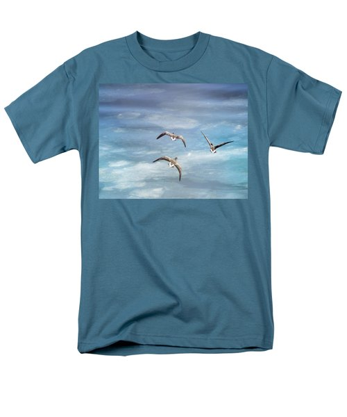 Loons Over Ice - Three Men's T-Shirt  (Regular Fit) by Vicki Jauron