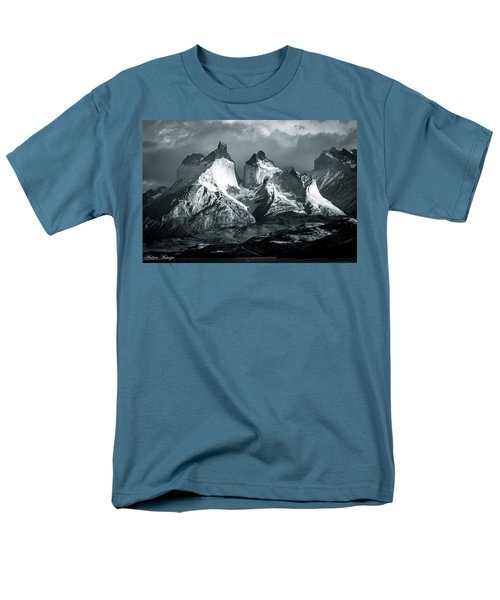 Men's T-Shirt  (Regular Fit) featuring the photograph Los Cuernos In Black And White by Andrew Matwijec
