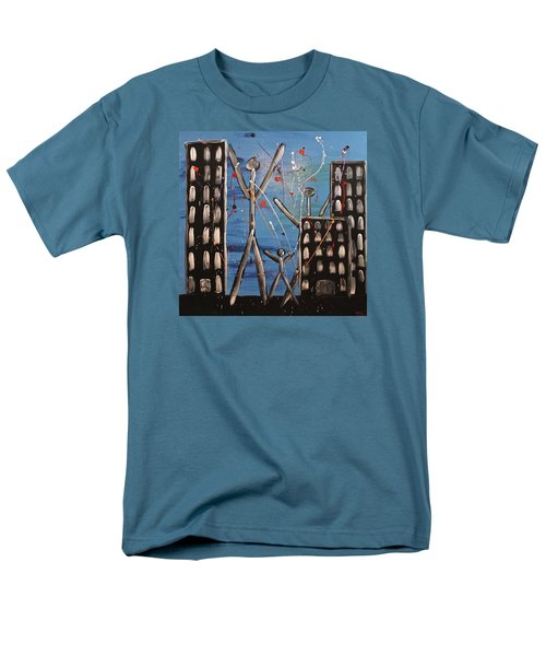 Men's T-Shirt  (Regular Fit) featuring the painting Lost Cities 13-003 by Mario Perron