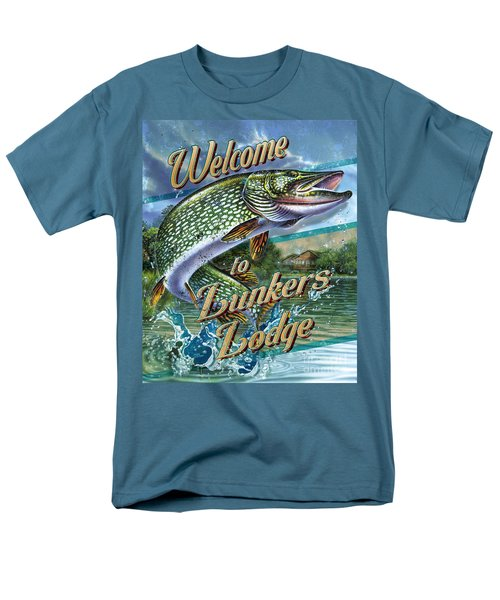 Men's T-Shirt  (Regular Fit) featuring the painting Lunkers Lodge Sign by Jon Q Wright