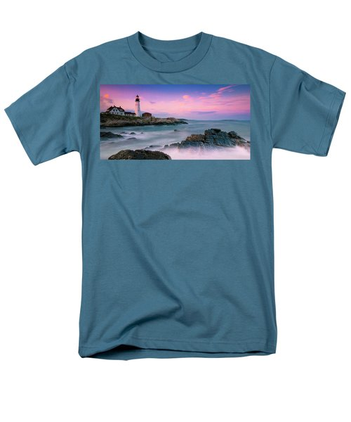 Maine Portland Headlight Lighthouse At Sunset Panorama Men's T-Shirt  (Regular Fit) by Ranjay Mitra