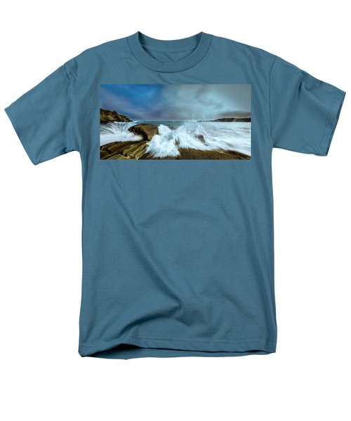 Maine Rocky Coast During Storm At Two Lights Men's T-Shirt  (Regular Fit) by Ranjay Mitra