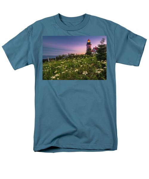 Maine West Quoddy Head Lighthouse Sunset Men's T-Shirt  (Regular Fit) by Ranjay Mitra