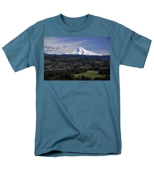 Men's T-Shirt  (Regular Fit) featuring the photograph Majestic Mt Hood by Jim Walls PhotoArtist