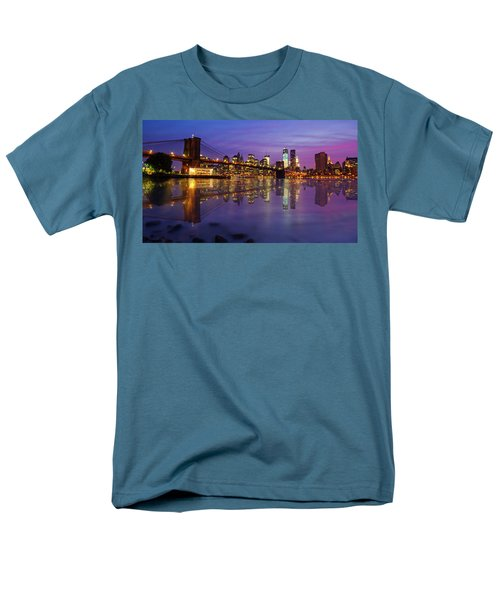 Men's T-Shirt  (Regular Fit) featuring the photograph Manhattan Reflection by Mircea Costina Photography