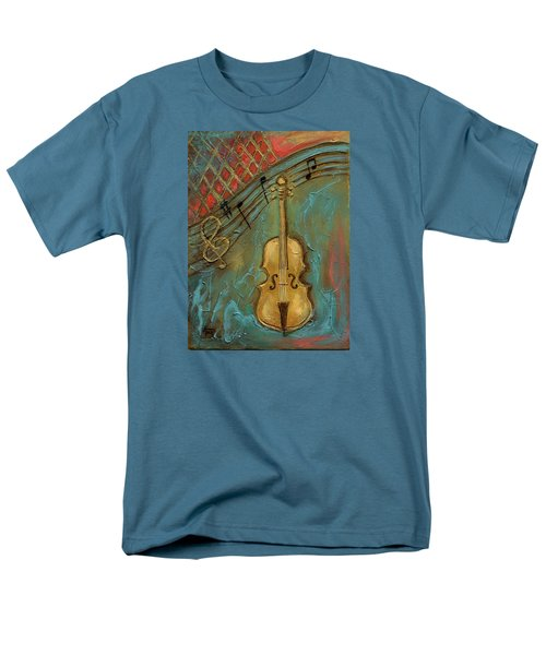 Men's T-Shirt  (Regular Fit) featuring the mixed media Mello Cello by Terry Webb Harshman