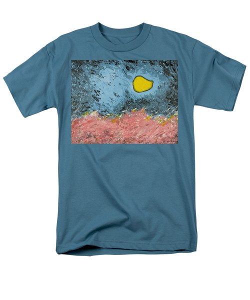 Men's T-Shirt  (Regular Fit) featuring the painting Melting Moon Over Drifting Sand Dunes by Ben Gertsberg