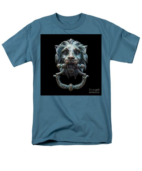 Men's T-Shirt  (Regular Fit) featuring the photograph Metal Lion Head Doorknocker Isolated Black by Antony McAulay