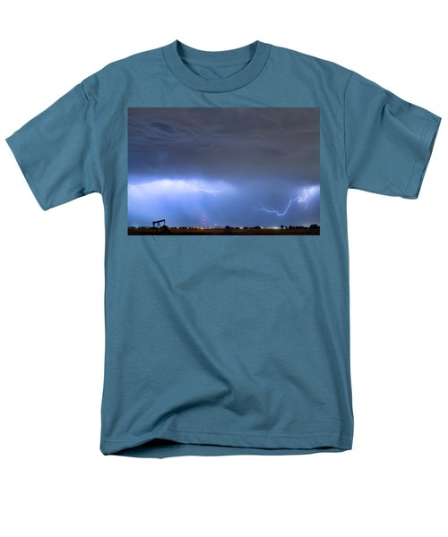 Men's T-Shirt  (Regular Fit) featuring the photograph Michelangelo Lightning Strikes Oil by James BO Insogna