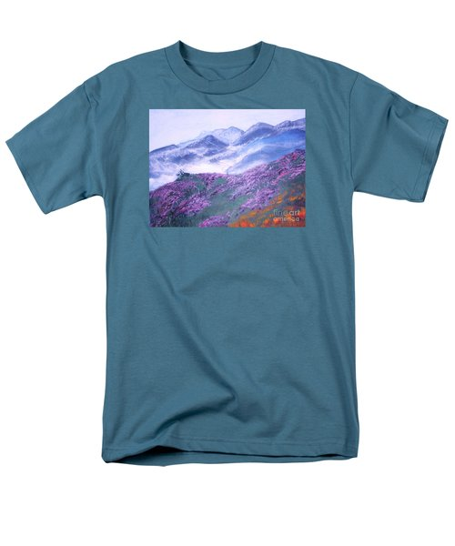 Men's T-Shirt  (Regular Fit) featuring the painting Misty Mountain Hop by Donna Dixon