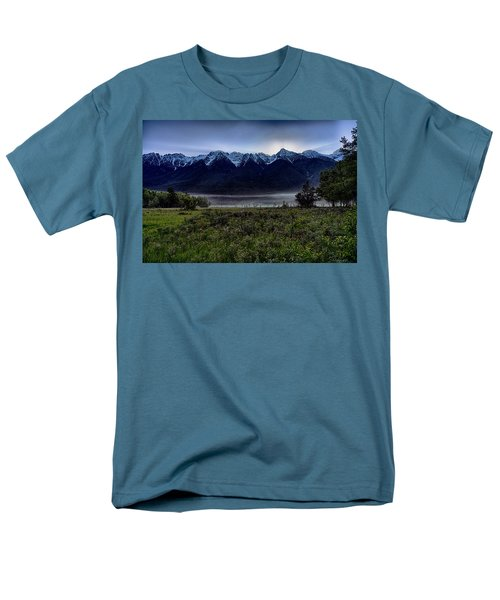 Men's T-Shirt  (Regular Fit) featuring the photograph Misty Mountain Morning Meadow  by Darcy Michaelchuk