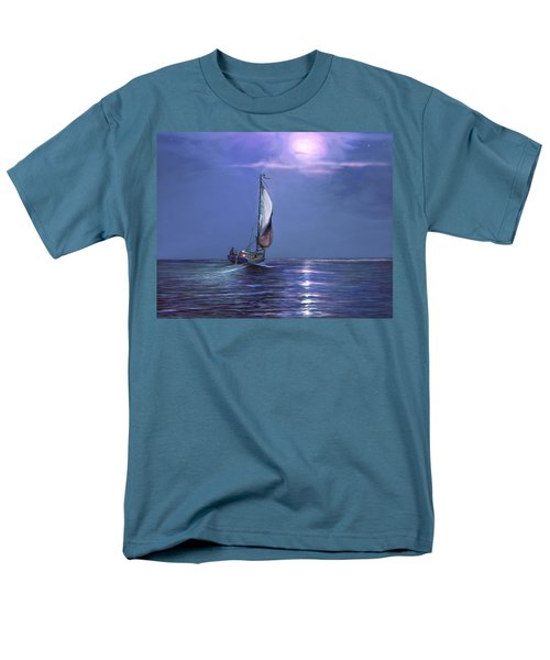 Men's T-Shirt  (Regular Fit) featuring the painting Moonlight Sailing by David  Van Hulst