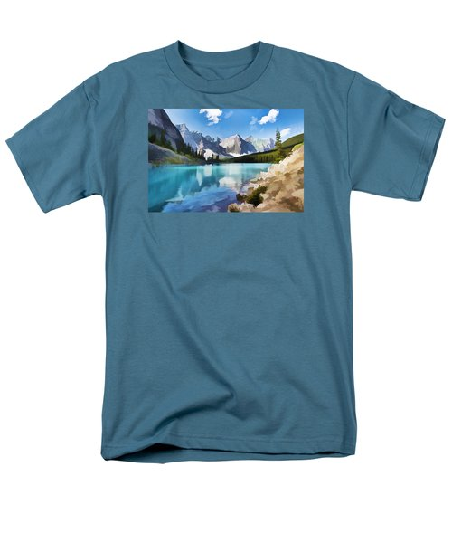 Moraine Lake At Banff National Park Men's T-Shirt  (Regular Fit) by Lanjee Chee