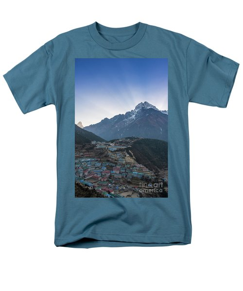 Men's T-Shirt  (Regular Fit) featuring the photograph Morning Sunrays Namche by Mike Reid