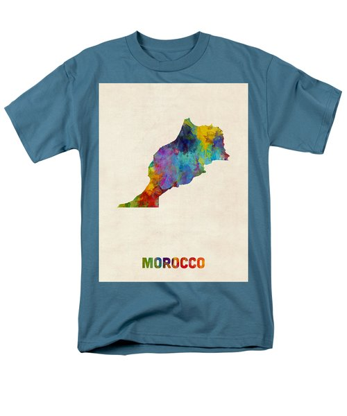 Men's T-Shirt  (Regular Fit) featuring the digital art Morocco Watercolor Map by Michael Tompsett