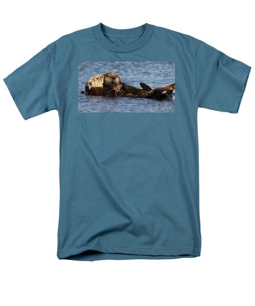Men's T-Shirt  (Regular Fit) featuring the photograph Mother Sea Otter Cuddling Baby by Max Allen