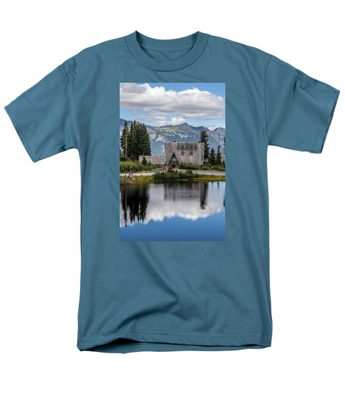 Men's T-Shirt  (Regular Fit) featuring the photograph Mt Baker Lodge Reflecting In Picture Lake 3 by Rob Green
