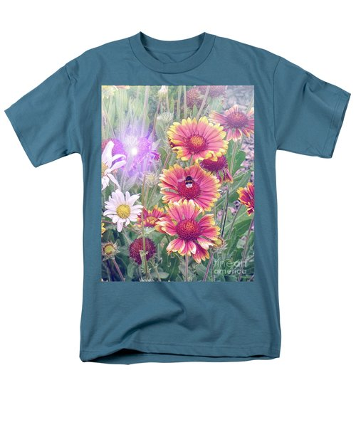 Multi Coloured Flowers With Bee Men's T-Shirt  (Regular Fit)