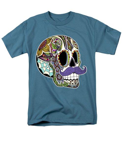Mustache Sugar Skull Men's T-Shirt  (Regular Fit) by Tammy Wetzel