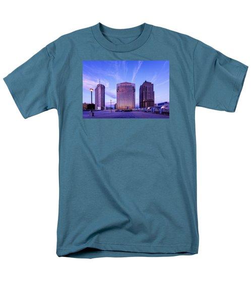 Men's T-Shirt  (Regular Fit) featuring the photograph Nationwide Plaza Evening by Alan Raasch
