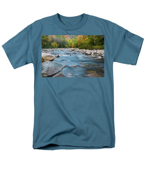 New Hampshire Swift River And Fall Foliage In Autumn Men's T-Shirt  (Regular Fit) by Ranjay Mitra