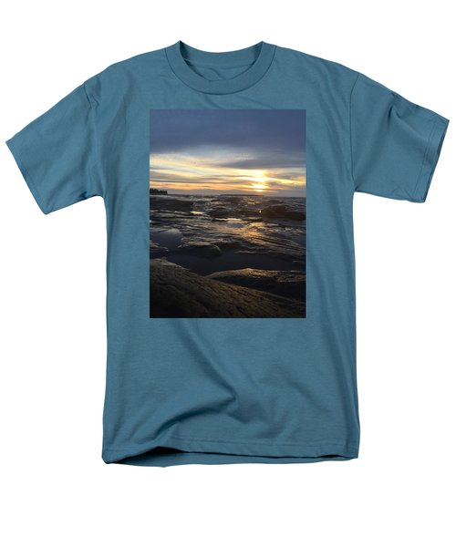 Men's T-Shirt  (Regular Fit) featuring the photograph November Sunset On Lake Superior by Paula Brown