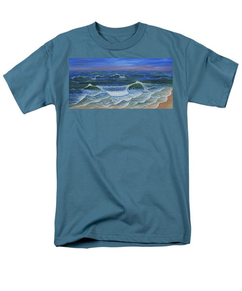 Men's T-Shirt  (Regular Fit) featuring the painting Ocean Waves Dance At Dawn Original Acrylic Painting by Georgeta Blanaru