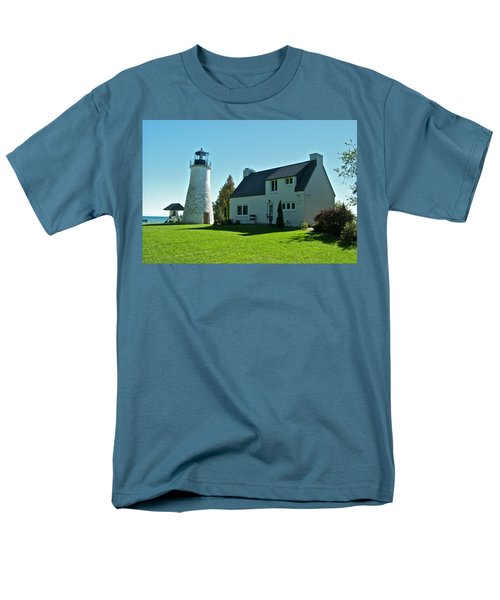 Old Presque Isle Lighthouse_9480 Men's T-Shirt  (Regular Fit) by Michael Peychich