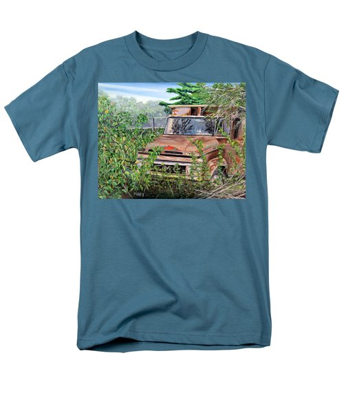 Men's T-Shirt  (Regular Fit) featuring the painting Old Truck Rusting by Marilyn  McNish