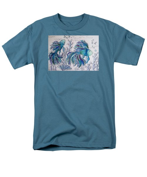 One Fish, Two Fish, Lilac Green And Blue Fish Men's T-Shirt  (Regular Fit) by Megan Walsh