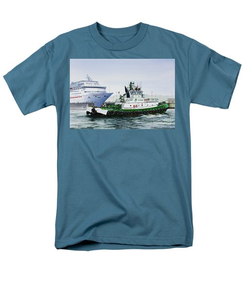 Men's T-Shirt  (Regular Fit) featuring the painting Pacific Escort Cruise Ship Assist by James Williamson