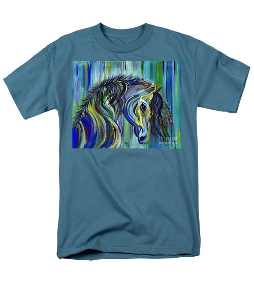 Men's T-Shirt  (Regular Fit) featuring the painting Paint Native American Horse by Janice Rae Pariza