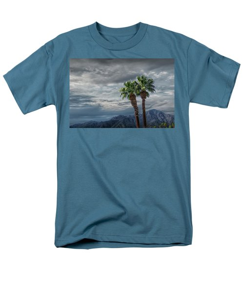 Men's T-Shirt  (Regular Fit) featuring the photograph Palm Trees By Borrego Springs In The Anza-borrego Desert State Park by Randall Nyhof