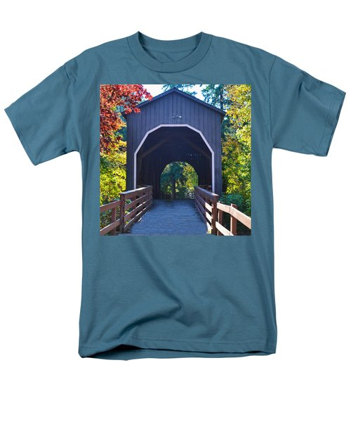 Pass Creek Covered Bridge Men's T-Shirt  (Regular Fit) by Ansel Price