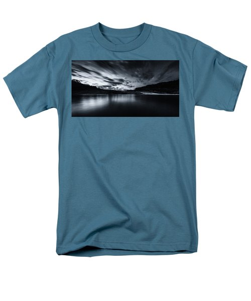 Peddernales Falls Long Exposure Black And White #1 Men's T-Shirt  (Regular Fit) by Micah Goff