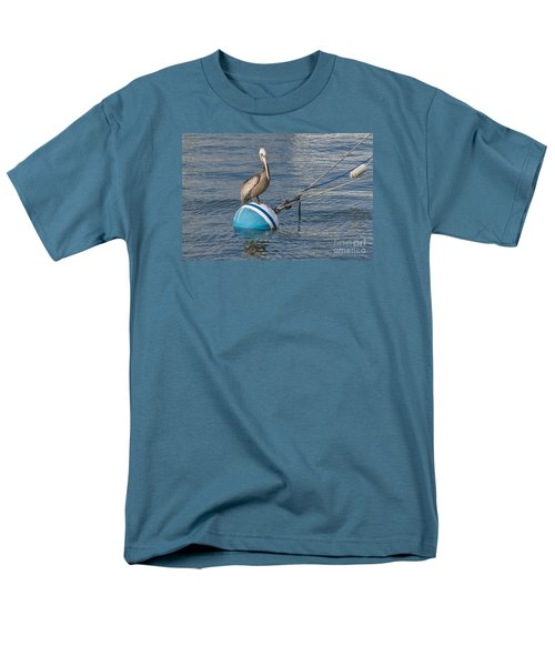 Pelican On A Buoy Men's T-Shirt  (Regular Fit) by Loriannah Hespe