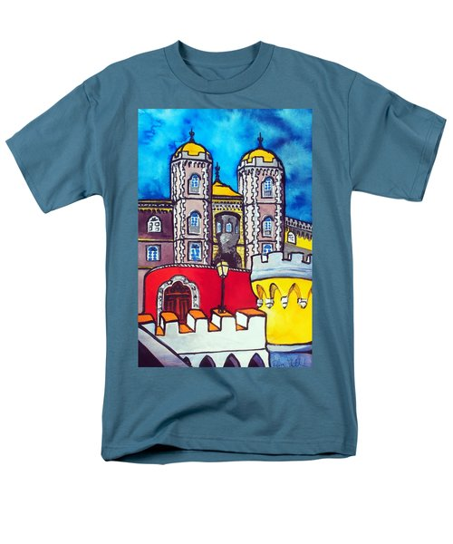Pena Palace In Sintra Portugal  Men's T-Shirt  (Regular Fit) by Dora Hathazi Mendes