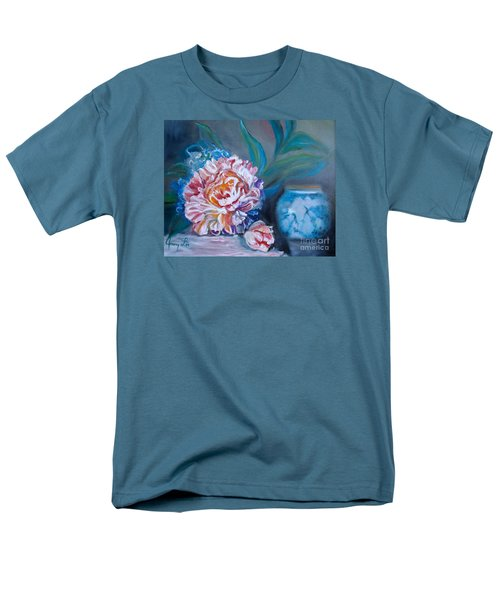 Men's T-Shirt  (Regular Fit) featuring the painting Peony And Chinese Vase by Jenny Lee