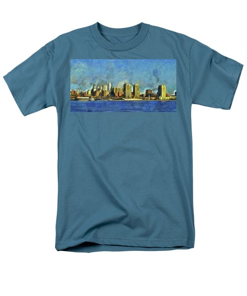 Men's T-Shirt  (Regular Fit) featuring the mixed media Philly Skyline by Trish Tritz