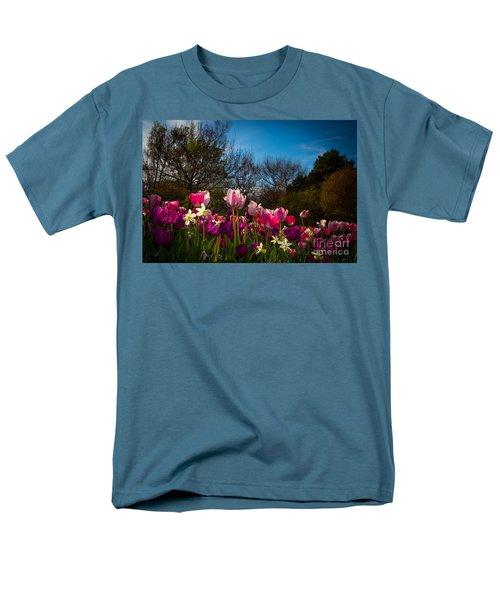 Pink And Purple Tulips Men's T-Shirt  (Regular Fit) by John Roberts