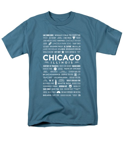 Places Of Chicago On Blue Chalkboard Men's T-Shirt  (Regular Fit) by Christopher Arndt