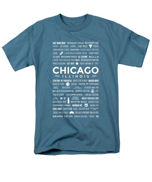 Places Of Chicago On Blue Chalkboard Men's T-Shirt  (Regular Fit)