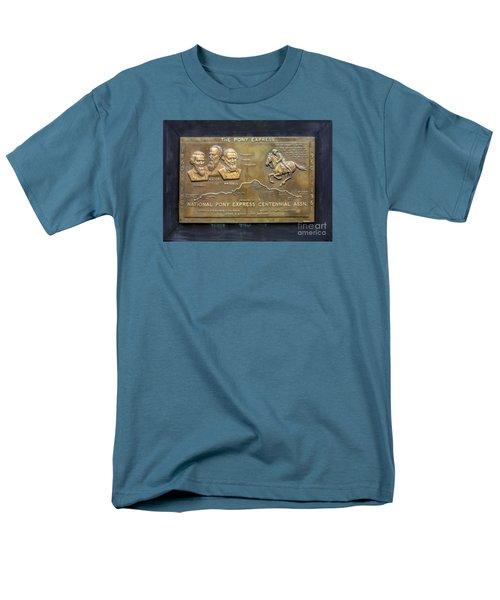 Pony Express Brass Plaque Men's T-Shirt  (Regular Fit) by Linda Phelps