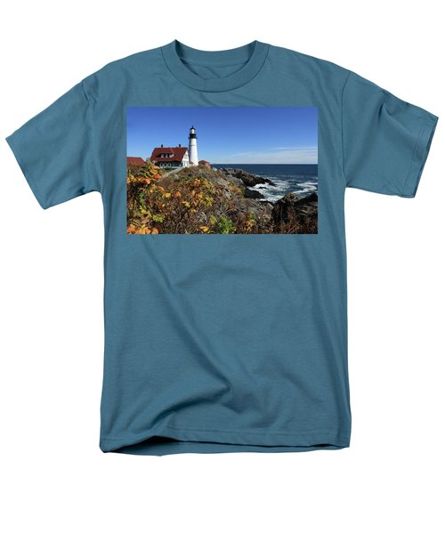 Portland Head Lighthouse In The Fall Men's T-Shirt  (Regular Fit) by Lou Ford