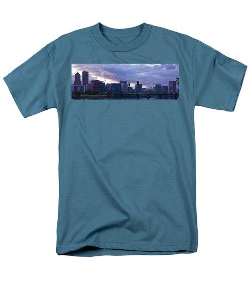 Portland Oregon Panorama Men's T-Shirt  (Regular Fit) by Jonathan Davison