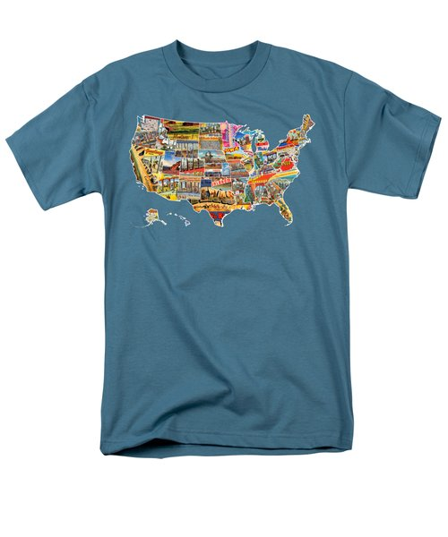 Postcards Of The United States Vintage Usa All 50 States Map Men's T-Shirt  (Regular Fit) by Design Turnpike