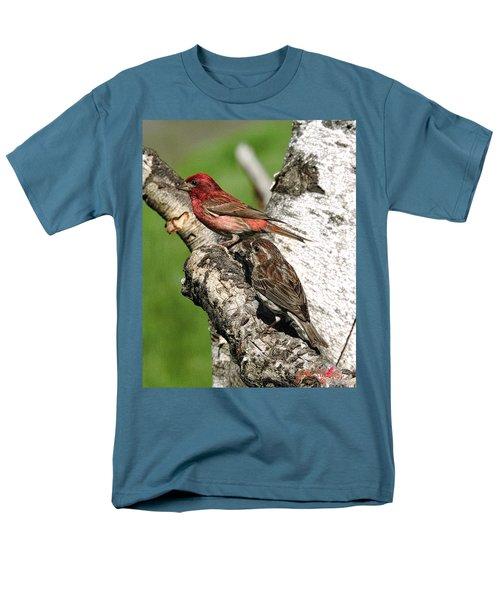 Men's T-Shirt  (Regular Fit) featuring the digital art Purple Finches by John Selmer Sr