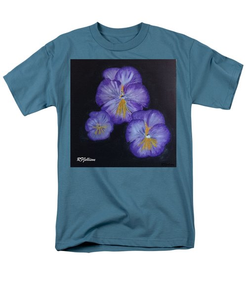 Men's T-Shirt  (Regular Fit) featuring the painting Purple Pansies by Rod Jellison