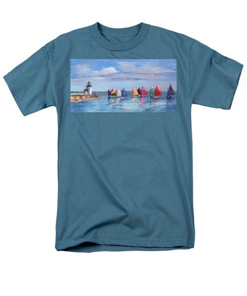 Rainbow Fleet Parade At Brant Point Men's T-Shirt  (Regular Fit) by Trina Teele