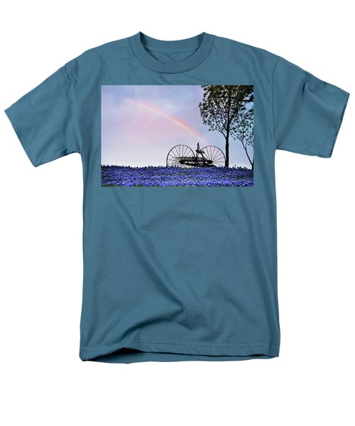Rainbow Over Texas Bluebonnets Men's T-Shirt  (Regular Fit) by David and Carol Kelly